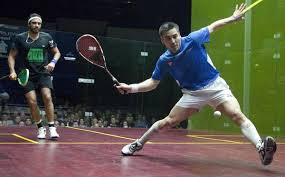Squash pro striking volley